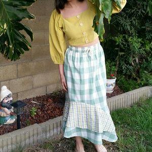 UO gingham plaid maxi skirt